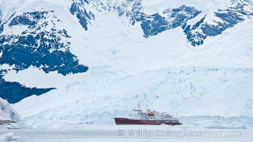 Icebreaker M/V Polar Star, at anchor in Neko Harbor. Neko Harbor, Antarctic Peninsula, Antarctica, natural history stock photograph, photo id 25677