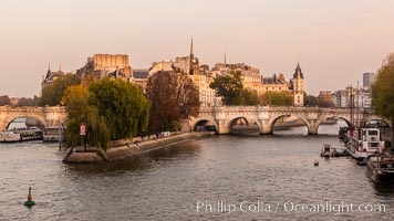 Ile de la Cite, one of two remaining natural islands in the Seine within the city of Paris It is the center of Paris and the location where the medieval city was refounded. Ile de la Cite, Paris, France, natural history stock photograph, photo id 28239