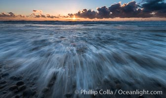 Incoming waves at sunset, Carlsbad. Carlsbad, California, USA, natural history stock photograph, photo id 30177