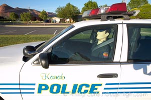 Inflatable cop.  Kanab's Finest, hard at work.  A Kanab police officer actively enforcing the speed limit in the town of Kanab, Utah
