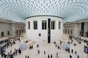 British Museum central foyer and ceiling, London, United Kingdom