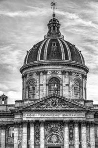 Institut de France. The Institut de France is a French learned society, grouping five academies, the most famous of which is the Academie francaise. Institut de France, Paris, France, natural history stock photograph, photo id 28240