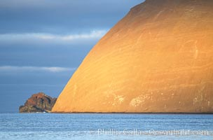 Isla Adentro (right) and Church Rock (partially obscured), sunrise. Guadalupe Island (Isla Guadalupe), Baja California, Mexico, natural history stock photograph, photo id 03705