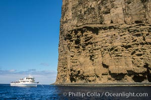 Boat Horizon below eastern cliffs of Isla Afuera, sunrise, Guadalupe Island (Isla Guadalupe)