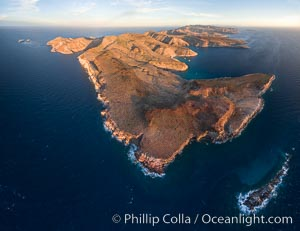 Isla Partida Aerial Photo, Punta Tijeretas (bottom), Ensenada Grande (right) and Los Islotes (left), Sea of Cortez