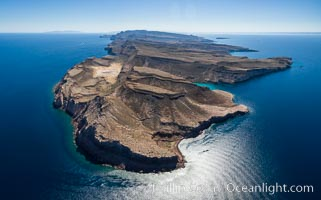 Isla Partida north end and Punta Maru, aerial photo, Sea of Cortez. Isla Partida, Baja California, Mexico, natural history stock photograph, photo id 32391