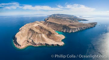 Isla Partida north end and Punta Maru, aerial photo, Sea of Cortez. Isla Partida, Baja California, Mexico, natural history stock photograph, photo id 32412