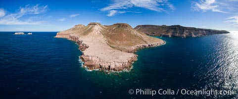 Isla Partida and Punta Maru near El Embudo, Los Islotes at left, Sea of Cortez, Aerial Photo. Isla Partida, Baja California, Mexico, natural history stock photograph, photo id 32448