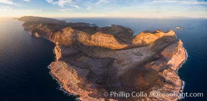Isla Partida highlands at Sunrise, view toward Punta Maru and Los Islotes, Aerial Photo