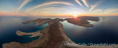 Isla Partida at Sunrise, aerial photo. Ensenada Grande on left, El Cardonal on right. Isla Partida, Baja California, Mexico, natural history stock photograph, photo id 32405