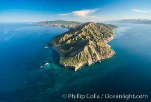 Isla San Jose and Coral Reefs, Aerial Panoramic Photo, Sea of Cortez