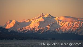 Kenai Mountains at sunset, viewed across Kachemak Bay, Homer, Alaska