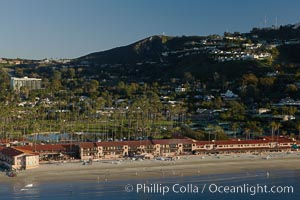 La Jolla Beach and Tennis Club, located on La Jolla Shores Beach with Mount Soledad rises in the background