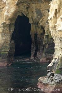 Sea cliffs and sea caves at sea level, made of sandstone and eroded by waves and tides, La Jolla, California