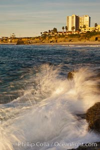 La Jolla Coast Boulevard at sunset, ocean and sea bluffs