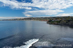 La Jolla Shores and the La Jolla Ecological Reserve and Underwater Park, looking north from the La Jolla sea caves.  Scripps Institution of Oceanography and its pier can be seen in the distance