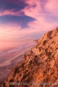 Sunset falls upon Torrey Pines State Reserve, viewed from the Torrey Pines glider port, La Jolla, California