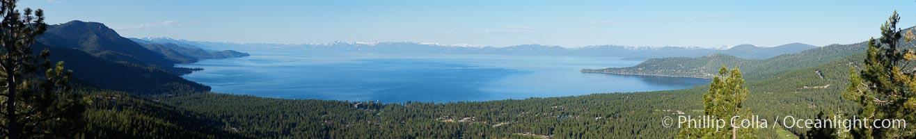 Panorama of Lake Tahoe, viewed from above Incline Village.  Sitting between the Carson Range to the east and the Sierra Nevada to the west, Lake Tahoe was formed about 2 to 3 million years ago and is now the second deepest lake in the United States, and tenth deepest in the world, at 1645 ft (501m) deep.  It lies at an altitude of 6225 feet (1897m) above sea level. This view is from the north end of Lake Tahoe looking south