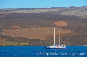 Boat Lammer Law lies at anchor near Isabella Island. Isabella Island, Galapagos Islands, Ecuador, natural history stock photograph, photo id 16647
