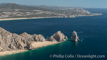 Aerial photograph of Land's End and the Arch, Cabo San Lucas, Mexico. Cabo San Lucas, Baja California, Mexico, natural history stock photograph, photo id 28888