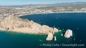 Aerial photograph of Land's End and the Arch, Cabo San Lucas, Mexico. Cabo San Lucas, Baja California, Mexico, natural history stock photograph, photo id 28891