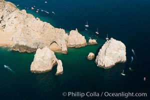 Aerial photograph of Land's End and the Arch, Cabo San Lucas, Mexico. Cabo San Lucas, Baja California, Mexico, natural history stock photograph, photo id 28892