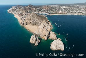 Aerial photograph of Land's End and the Arch, Cabo San Lucas, Mexico. Cabo San Lucas, Baja California, Mexico, natural history stock photograph, photo id 28893