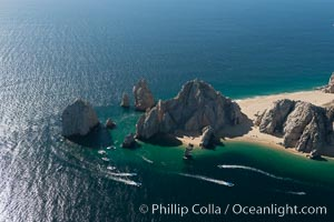 Aerial photograph of Land's End and the Arch, Cabo San Lucas, Mexico. Cabo San Lucas, Baja California, Mexico, natural history stock photograph, photo id 28898