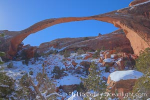 Landscape Arch in winter. Landscape Arch has an amazing 306-foot span, Arches National Park, Utah