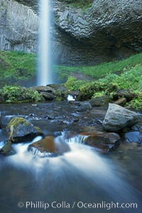 Cascades below Latourelle Falls, in Guy W. Talbot State Park, drops 249 feet through a lush forest near the Columbia River, Columbia River Gorge National Scenic Area, Oregon