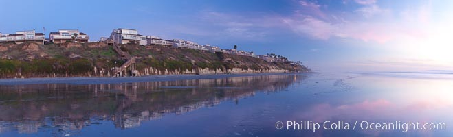 Leucadia beach and coastline, sunset, Encinitas, California