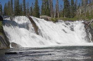 Lewis Falls drops 30 feet on the Lewis River, near the south entrance to Yellowstone National Park. Yellowstone National Park, Wyoming, USA, natural history stock photograph, photo id 13289