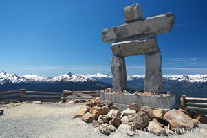 Ilanaaq, the logo of the 2010 Winter Olympics in Vancouver, is formed of stone in the Inukshuk-style of traditional Inuit sculpture.  This one is located on the summit of Whistler Mountain