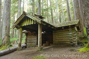 Log cabin on the trail to Sol Duc Falls, Sol Duc Springs, Olympic National Park, Washington