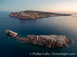 Los Islotes and Isla Partida, the northern part of Archipelago Espiritu Santo, Sea of Cortez, Aerial Photo
