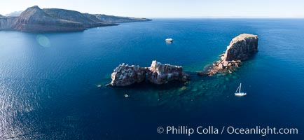 Los Islotes, part of Archipelago Espiritu Santo, Sea of Cortez, Aerial Photo. Los Islotes, Baja California, Mexico, natural history stock photograph, photo id 32384