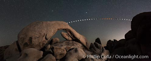 Lunar Eclipse and blood red moon sequence over Arch Rock, planet Mars above the moon, composite image, Joshua Tree National Park, April 14/15 2014