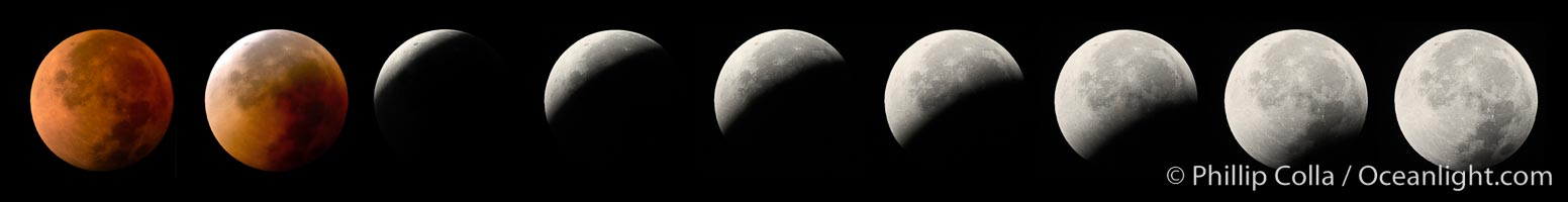 Lunar eclipse sequence, showing total eclipse (left) through full moon (right).  While the moon lies in the full shadow of the earth (umbra) it receives only faint, red-tinged light refracted through the Earth&#39;s atmosphere.  As the moon passes into the penumbra it receives increasing amounts of direct sunlight, eventually leaving the shadow of the Earth altogether.  August 28, 2007, Earth Orbit, Solar System, Milky Way Galaxy, The Universe