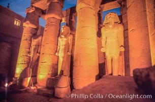 Luxor Temple, statues and columns at night