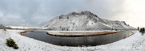 Madison River, snow-covered banks and cold winter air, panorama, composite of 7 individual photographs.,  Copyright Phillip Colla, image #22448, all rights reserved worldwide.