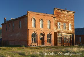 Main Street buildings, Dechambeau Hotel (left) and I.O.O.F. Hall (right), Bodie State Historical Park, California