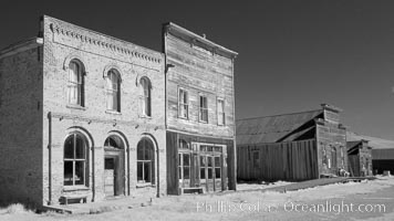 Main Street buildings, Dechambeau Hotel (left) and I.O.O.F. Hall (right), infrared, Bodie State Historical Park, California