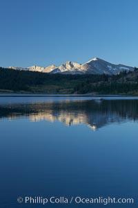 Mammoth Peak rises above a placid Tioga Lake, at sunrise, Yosemite National Park, California