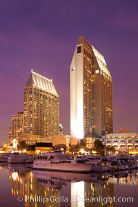 Manchester Grand Hyatt Hotel at sunset, viewed from the San Diego Embarcadero Marine Park