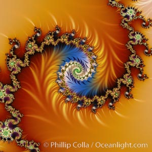Detail within the Mandelbrot set fractal.  This detail is found by zooming in on the overall Mandelbrot set image, finding edges and buds with interesting features.  Fractals are complex geometric shapes that exhibit repeating patterns typified by self-similarity, or the tendency for the details of a shape to appear similar to the shape itself.  Often these shapes resemble patterns occurring naturally in the physical world, such as spiraling leaves, seemingly random coastlines, erosion and liquid waves.  Fractals are generated through surprisingly simple underlying mathematical expressions, producing subtle and surprising patterns.  The basic iterative expression for the Mandelbrot set is z = z-squared + c, operating in the complex (real, imaginary) number set., Mandelbrot set,  Copyright Phillip Colla, image #10391, all rights reserved worldwide.