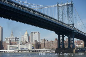 Manhattan Bridge viewed from the East River.  Lower Manhattan visible behind the Bridge. Manhattan Bridge, New York City, New York, USA, natural history stock photograph, photo id 11058