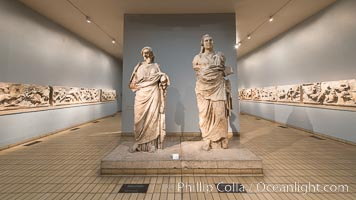 Mausoleum at Halikarnassos. Colossal statue of a man and woman from the Mausoleum at Halikarnassos. Greek, around 350 BC. From modern Bodrum, south-western Turkey, British Museum, London, United Kingdom