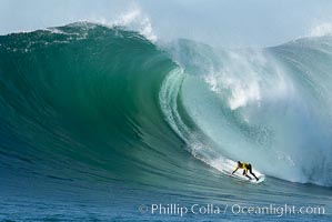 2006 Mavericks surf contest champion Grant Twiggy Baker of South Africa.  Final round, Mavericks surf contest, February 7, 2006, Half Moon Bay, California