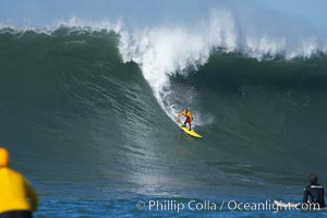 Darryl Flea Virostko, three time Mavericks champion, in heat four.  Mavericks surf contest, February 7, 2006, Half Moon Bay, California