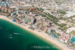Aerial view of Medano Beach in Cabo San Lucas, showing many resorts along the long white sand beach. Cabo San Lucas, Baja California, Mexico, natural history stock photograph, photo id 28881